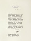 Autographs:U.S. Presidents, Richard Nixon Typed Letter Signed ...