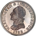 Colonials, 1783 1C Washington & Independence Cent, Draped Bust, Copper Restrike, Plain Edge PR67 Brown PCGS....