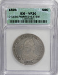 Early Half Dollars, 1806 50C Pointed 6, Stem VF20 ICG. 0-115A NGC Census: (50/748).PCGS Population (57/569). Mintage: 839,576. Numismedia Wsl....