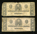 Confederate Notes:1862 Issues, T55 $1 1862 Two Examples.. ... (Total: 2 notes)