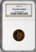 Proof Indian Cents, 1868 1C PR64 Red Cameo NGC....