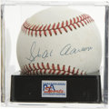 Autographs:Baseballs, Hank Aaron Single Signed Baseball, PSA NM-MT 8. Nice exemplar fromHammerin' Hank has been applied to the offered ONL (White...