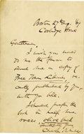 "Autographs:Statesmen, Autograph Letter Signed by Charles Sumner as United States Senator.Two pages including integral blank, 8vo, ""Boston, Cool..."