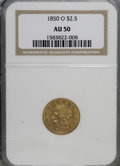 Liberty Quarter Eagles: , 1850-O $2 1/2 AU50 NGC. NGC Census: (36/167). PCGS Population(20/44). Mintage: 84,000. Numismedia Wsl. Price for NGC/PCGS ...