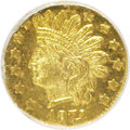 California Fractional Gold, 1872/1 25C BG-869 MS64 Prooflike NGC. NGC Census: (8/3).(#710730)...