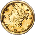 California Fractional Gold, 1853 25C Liberty Round 25 Cents, BG-208, R.7, AU55 PCGS....