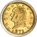 California Fractional Gold, 1872 25C Washington Round 25 Cents, BG-818, Low R.4, MS62 PCGS....