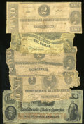 Confederate Notes:Group Lots, Five Confederate Notes. Fair or Better.. ... (Total: 5 notes)