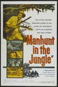 "Movie Posters:Adventure, Manhunt in the Jungle (Warner Brothers, 1958). One Sheet (27"" X41""). Adventure...."