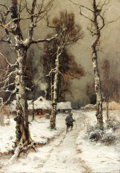 Fine Art - Painting, Russian:Modern (1900-1949), YULIY YULEVICH (JULIUS) KLEVER (Russian, 1850-1924). HomewardBound through a Wintry Forest, 1905. Oil on canvas. 42-1/2...