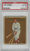 Baseball Cards:Singles (1930-1939), 1933 Goudey Rick Ferrell #197 PSA VG-EX 4. Although his fellowmajor league brother Wes was pitcher, the catcher Rick Ferre...
