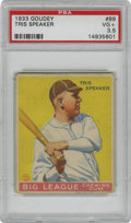 Baseball Cards:Singles (1930-1939), 1933 Goudey Tris Speaker #89 PSA VG+ 3.5. Regarded as the greatestcenterfielder of his day, Tris Speaker could also swing ...