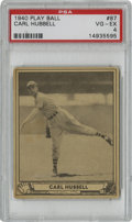 Baseball Cards:Singles (1940-1949), 1940 Play Ball Carl Hubbell #87 PSA VG-EX 4. Tough to find in anysort of decent condition, this Hall of Fame entry from th...