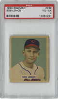 Baseball Cards:Singles (1940-1949), 1949 Bowman Bob Lemon #238 PSA VG-EX 4. While he did not learn to pitch until well after his major league debut, the hurler...