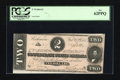 Confederate Notes:1864 Issues, T70 $2 1864. The cut has resulted in a grade of PCGS New 62PPQ for this note....