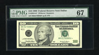 Fr. 2034-K* $10 1999 Federal Reserve Note. PMG Superb Gem Unc 67. An utterly superb and unflappable gem that has behemot...