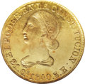Ecuador: , Ecuador: Republic gold 8 Escudos 1840-MV-A, KM23.1, AU55 NGC,choice and lustrous with some small surface marks as is typical forthi...
