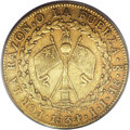 Chile: , Chile: Republic gold 8 Escudos 1834-IJ, KM84, XF40 PCGS, evenlyworn with no planchet flaws. An attractive and popular type....