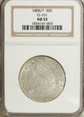 Bust Half Dollars: , 1808/7 50C AU53 NGC. O-101, R.1. A generous quotient of brightluster illuminates the borders of this lightly toned Bust ha...