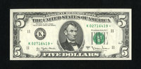 Fr. 1975-K* $5 1977A Federal Reserve Note. Gem Crisp Uncirculated. An utterly flawless gem that would be superb if the t...