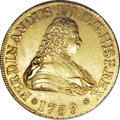 Chile: , Chile: Ferdinand VI gold 8 Escudos 1759-J, KM12, bold XF,exceptionally clean surfaces with no adjustment marks or othernoticeable...