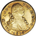 Chile: , Chile: Ferdinand VII gold 8 Escudos 1816-FJ, KM78, VF-XF, a niceoriginal coin, small planchet lamination behind the bust of theKi...