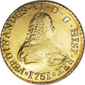 Chile: , Chile: Ferdinand VI gold 8 Escudos 1751-J, KM3, choice AU, lightrose-gold patina, few small obverse surface marks. From the River...