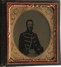 Military & Patriotic:Civil War, Three Images of an Identified Vermont Musician. The first, and most important, photograph is a cased 1/6th plate tintype sho... (Total: 3 )