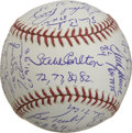 Autographs:Baseballs, Cy Young Award Winners Multi-Signed Baseball. Cy Young was the master of all pitchers of his day, toiling for a total of a ...