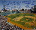 """Autographs:Photos, Boston Red Sox Multi Signed Over Sized Photograph. The oversized20x24"""" photograph of famed Fenway Park has been signed by ..."""
