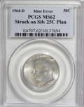 Errors, 1964-D 50C Kennedy Half--Struck on a Silver Quarter Planchet--MS62PCGS....
