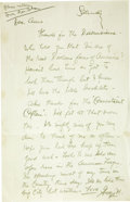 Books:Manuscripts, [Charles Dickens]. George M. Cohan. Autograph Letter Signed. [New York state (?): ca. 1940]....