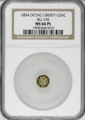 California Fractional Gold, 1854 25C BG-105 MS66 NGC....