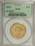 Liberty Eagles, 1842 $10 Large Date XF45 PCGS....