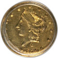 California Fractional Gold, 1870 50C Liberty Round 50 Cents, BG-1024, Low R.4, MS62 PCGS. PCGSPopulation (38/20). NGC Census: (4/5). (#10853)...