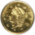 California Fractional Gold, Undated 25C Liberty Round 25 Cents, BG-221, R.3, MS64 NGC. NGCCensus: (2/1). PCGS Population (36/3). (#10406)...