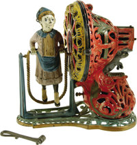 Girl Skipping Rope Mechanical Bank - Pink made by J. & E. Stevens Co., Cromwell, CT, designed by James H. Bowen, cir...