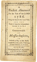 Books:First Editions, A Pocket Almanack. For the Year of Our Lord 1786....