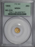 California Fractional Gold, 1855 25C Liberty Round 25 Cents, BG-226, R.5, MS64 PCGS....