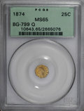 California Fractional Gold, 1874 25C Indian Octagonal 25 Cents, BG-799Q, High R.5, MS65PCGS....