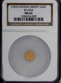 California Fractional Gold, ND 25C Liberty Round 25 Cents, BG-834, High R.5, MS63 NGC....
