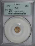 California Fractional Gold, 1876 25C Indian Round 25 Cents, BG-882, R.7, MS64 PCGS....
