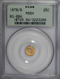 California Fractional Gold, 1878/6 25C Indian Round 25 Cents, BG-884, High R.5, MS64 PCGS....