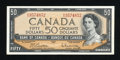 Canadian Currency: , BC-42b $50 1954 Modified Portrait.. ...