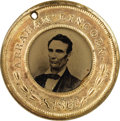 Political:Ferrotypes / Photo Badges (pre-1896), Abraham Lincoln: Lustrous and Minty 1860 Lincoln & HamlinCampaign Ferrotype....