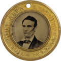 Political:Ferrotypes / Photo Badges (pre-1896), Abraham Lincoln: Scarce, Larger-Size Lincoln & Hamlin CampaignFerrotype....