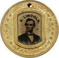 Political:Ferrotypes / Photo Badges (pre-1896), Abraham Lincoln: Scarce Variety of 1864 Lincoln & JohnsonFerrotype....