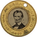 Political:Ferrotypes / Photo Badges (pre-1896), Abraham Lincoln: 1860-Dated Lincoln & Hamlin Ferrotype with theMost Popular Campaign Photo of that Election....