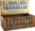 Political:Advertising, 1896 Election: Wonderful Wood Store Display Crate That HeldPackages of Candied Dates Carrying Promos for Both Democratic and...