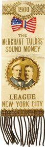 "Political:Ribbons & Badges, McKinley & Roosevelt: Colorful 1900 Campaign Badge from New York with 1¾"" Celluloid Jugate...."